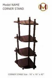 Mono Furn Brown Wooden Corner Stand, 4, Size: 16