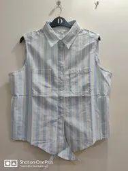Stripes Women Branded Surplus Sleeveless Shirt