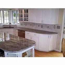 Brown Teak Granite Kitchen Countertop