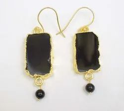 Black Onyx Sterling Silver Earning Gold Plated