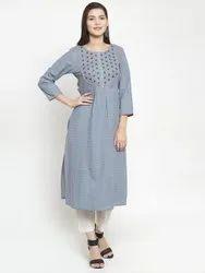 Grey Cotton Jacquard Embroidered Kurti