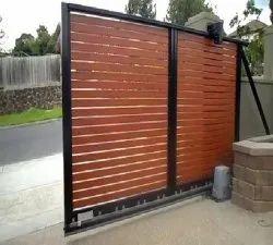 Blue Mild Steel Motorized Sliding Gate, For Residential
