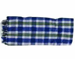 Cotton Striped Blue Check Bath Towel, For Bathroom, Rectangular