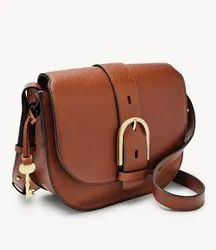 Brown Adjustable Ladies Leather Side Bag, For Casual Wear
