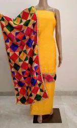 Yellow Unstitched Cotton Phulkari Salwar Suit, Handwash