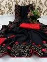 Girls Vichitra Silk With Velvet Butta & Full Saree