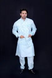 Blended Silk Party Sky White embroidery embossing Indo Western Kurta pant with waistcoat, Size/Dimension: S, M and L