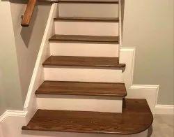 Brown Hardwood Wooden Stairs