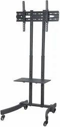 Black Mild Steel ES-TVT01 TV Trolley, For Home