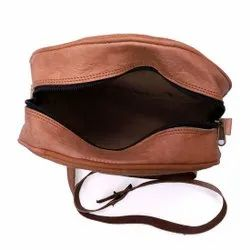 Brown Leather Round Shape Girl Bag, For Casual Wear, 350 Gm