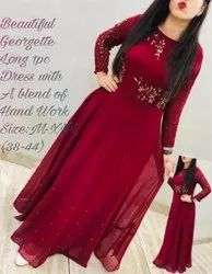 Red Embroidered Party Wear Gowns