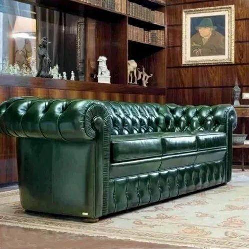 Wood Modern Green Leather Sofa For, Green Leather Furniture