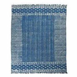 Assorted Cotton Printed Indigo Rug, For Home, Size: 4x6