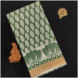 Casual Wear Printed Embroidered Kerala Cotton Saree, 6.3 m (with blouse piece)