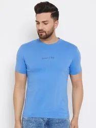 HARBORNBAY Men Blue Printed Round Neck T-shirt