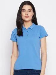 HARBORNBAY Women Blue Polo Collar T-shirt