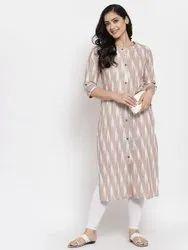 Women Printed Straight Cotton Kurta(Beige)