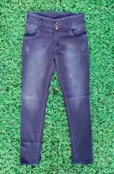 Button Blue Party Wear Faded Denim Jeans, 28 To 32, Hand Wash