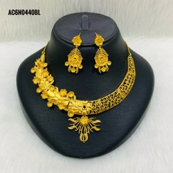 Long Golden Plated African Bridal Set Design Jewellery
