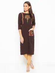 Women Embroidered Crepe Straight Kurti(Brown)