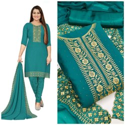 Party Wear 6 Colour Georgette Embroidery Salwar Suit, Size: Unstiched
