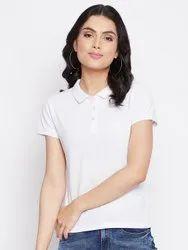 Harbornbay Women White Polo Collar T-shirt
