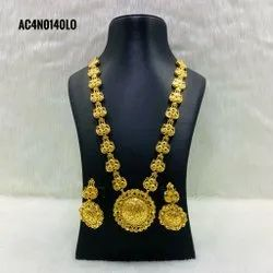 Long Traditional Antique Gold Plated Necklace With Earring
