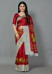 Navratri Special Printed Red Color Khadi Silk Saree
