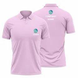 Baby Pink Custom Logo Company Name Printed Polo Shirt