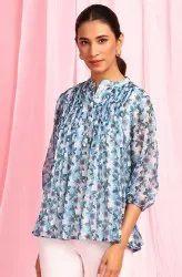 Janasya Women's Blue Poly Georgette Top (J0336)