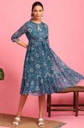 Janasya Women's Blue Poly Georgette Western Dress  (J0341)