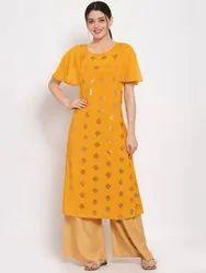 Women Printed Crepe A-Line Kurti(Yellow)