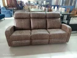 Wooden Brown Recliner Three Seater Sofa, Hall, Size: Standard
