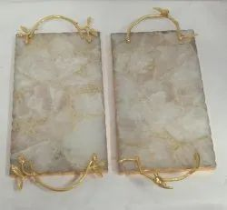 White And Golden Marble With Handle Tray