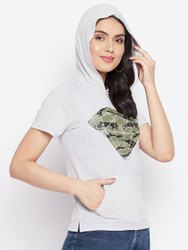 HARBORNBAY Women Grey Printed Hooded T-shirt