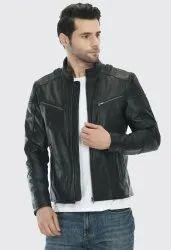 Full Sleeve Casual Jackets Black Men Genuine Leather Jacket, Size: Large