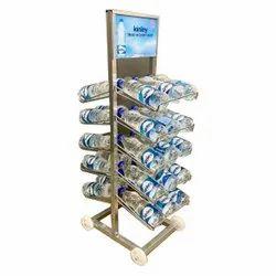 MS Paint Coated Water Bottle Floor Display, For Supermarket, 100kg