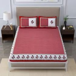 Signature pure cotton king size(100 by 108) bedsheet with 2  pillow covers