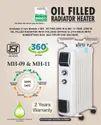 Zenco- Oil filled Radiator Heater 9 Fins