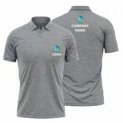 Melange Grey Polo T-Shirt Customised