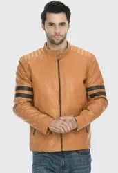 Full Sleeve Casual Wear Tan Brown Men Leather Jacket, Size: Large