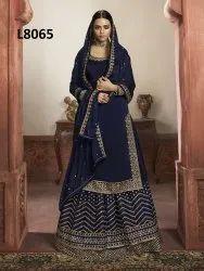 Wedding Wear Semi Stitched Latest Designer Rangoli Silk Embroidered Navy Blue Lehenga Choli, 18-30