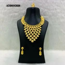 Indian one gram gold plated  wedding wear necklace set Bollywood style jewelry