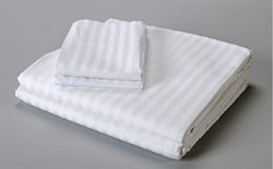 Hotel White Satin Stripes Bed Sheet