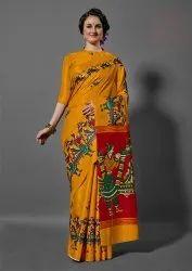 Yellow and Red Color Printed Khadi Silk Saree