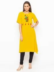Women Embroidered Crepe A-Line Kurti(Yellow)