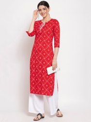 Women Printed Rayon Straight Kurti(Red)