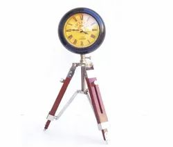 Wooden Desk Clock with Tripod Stand