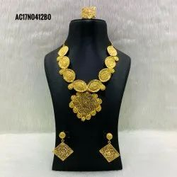 Partywear Special Gold Color Necklace With Earrings & Ring