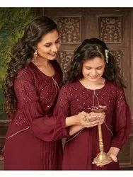 Party Wear Mix Color Mother Daughter Gown Combo